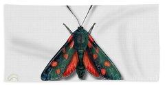 Six Spot Burnet Butterfly - Zygaena Filipendulae Naturalistic Painting - Nettersheim Eifel Hand Towel