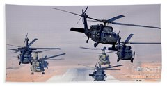 Six Uh-60l Black Hawks And Two Ch-47f Chinooks Bath Towel