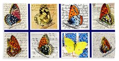Hand Towel featuring the painting Sixteen Butterflies by Marian Cates