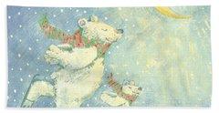 Skating Polar Bears Hand Towel