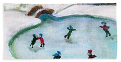 Skating Pond Hand Towel by Laurie Morgan