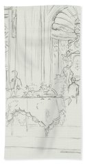 Sketch Of A Formal Dining Room Bath Towel