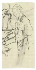Sketch Of Waiter Pouring Wine Bath Towel