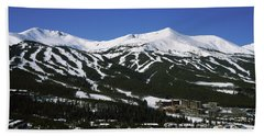 Ski Resorts In Front Of A Mountain Bath Towel