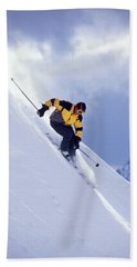 Skier On Powder Slope Hand Towel