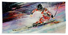 Skiing 01 Bath Towel by Miki De Goodaboom