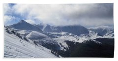 Skiing With A View Bath Towel by Fiona Kennard
