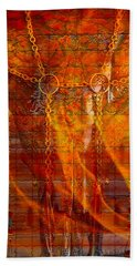 Skull On Fire Hand Towel by Mayhem Mediums