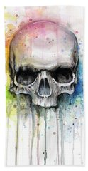 Skull Watercolor Painting Hand Towel