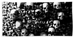 Skulls And Bones In The Catacombs Of Paris France Bath Towel