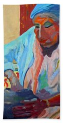 Hand Towel featuring the painting Sky City - Marie by Francine Frank