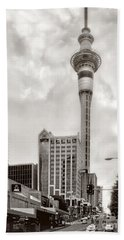 Hand Towel featuring the photograph Sky Tower's Queen St Couple.nz by Jennie Breeze