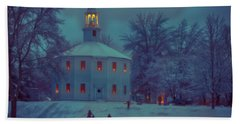 Sledding At The Old Round Church Bath Towel