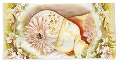 Sleeping Baby Vintage Dreams Hand Towel by Irina Sztukowski