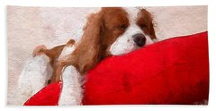 Bath Towel featuring the digital art Sleeping Puppy On Red Pillow by Anthony Fishburne