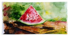 Sliced Watermelon Bath Towel by Zaira Dzhaubaeva