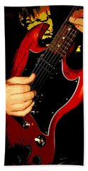 Red Gibson Guitar Bath Towel by Chris Berry