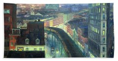Sloan's The City From Greenwich Village Bath Towel by Cora Wandel
