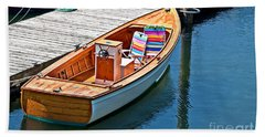 Small Dinghy Boat Art Prints Hand Towel by Valerie Garner