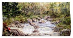 Hand Towel featuring the painting Small Falls In The Forest by Dorothy Maier