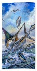 Small Tuna And Blue Marlin Jumping Hand Towel