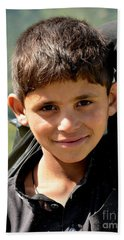 Hand Towel featuring the photograph Smiling Boy In The Swat Valley - Pakistan by Imran Ahmed