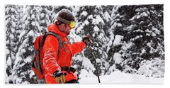 Smiling Male Skier On A Snowy Landscape Hand Towel