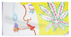 Hand Towel featuring the painting Smoking Blonde by Stormm Bradshaw