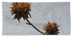 Hand Towel featuring the photograph Snow And Thistles by Janice Westerberg