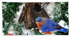 Snow Bluebird Christmas Card Bath Towel