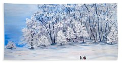 Hand Towel featuring the painting Snow Bunny by Phyllis Kaltenbach