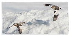 Snow Buntings In Flight Bath Towel