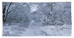 Snow Covered Trees In A Park, Hampstead Bath Towel