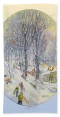 Hand Towel featuring the painting Snow Day by Donna Tucker