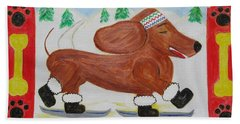 Hand Towel featuring the painting Snow Dog by Diane Pape