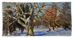 Snow In Goat Island Park  Hand Towel