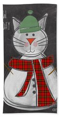 Snow Kitten Hand Towel by Linda Woods