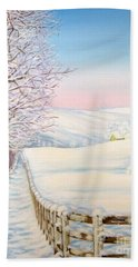 Snow Path Bath Towel by Inese Poga