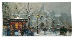 Snow Scene In Paris Hand Towel