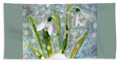 Snowdrops A Promise Of Spring Hand Towel by Angela Davies