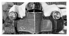 Snowed In A Thick Blanket Of Snow Covering A Vintage Chevy Bath Towel