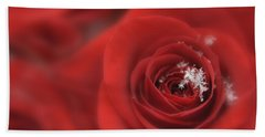Snowflakes On A Rose Bath Towel by Lori Grimmett