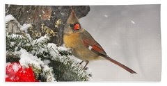 Bath Towel featuring the photograph Female Cardinal Snowing by Nava Thompson