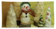 Snowman And Trees Holiday Bath Towel