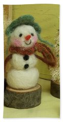 Snowman And Trees Holiday Bath Towel by Mary Wolf