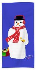 Snowman Hand Towel by Barbara Moignard