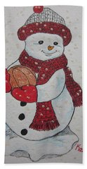 Snowman Playing Basketball Hand Towel by Kathy Marrs Chandler