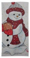 Snowman Playing Basketball Bath Towel by Kathy Marrs Chandler
