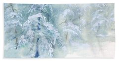 Hand Towel featuring the painting Snowstorm by Joy Nichols