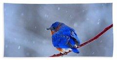 Snowy Bluebird Hand Towel